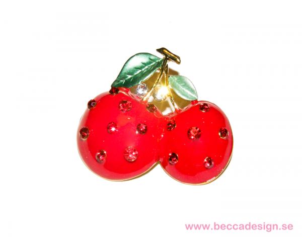 Körsbär med strass brosch bild