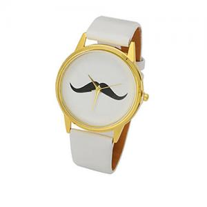 Mustasch klocka - Vit bild