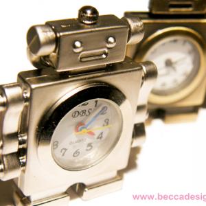 Robot-klocka nyckelring bild