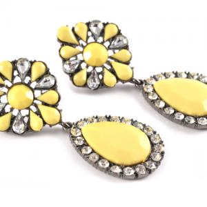 Yellow flower bling - Örhängen bild